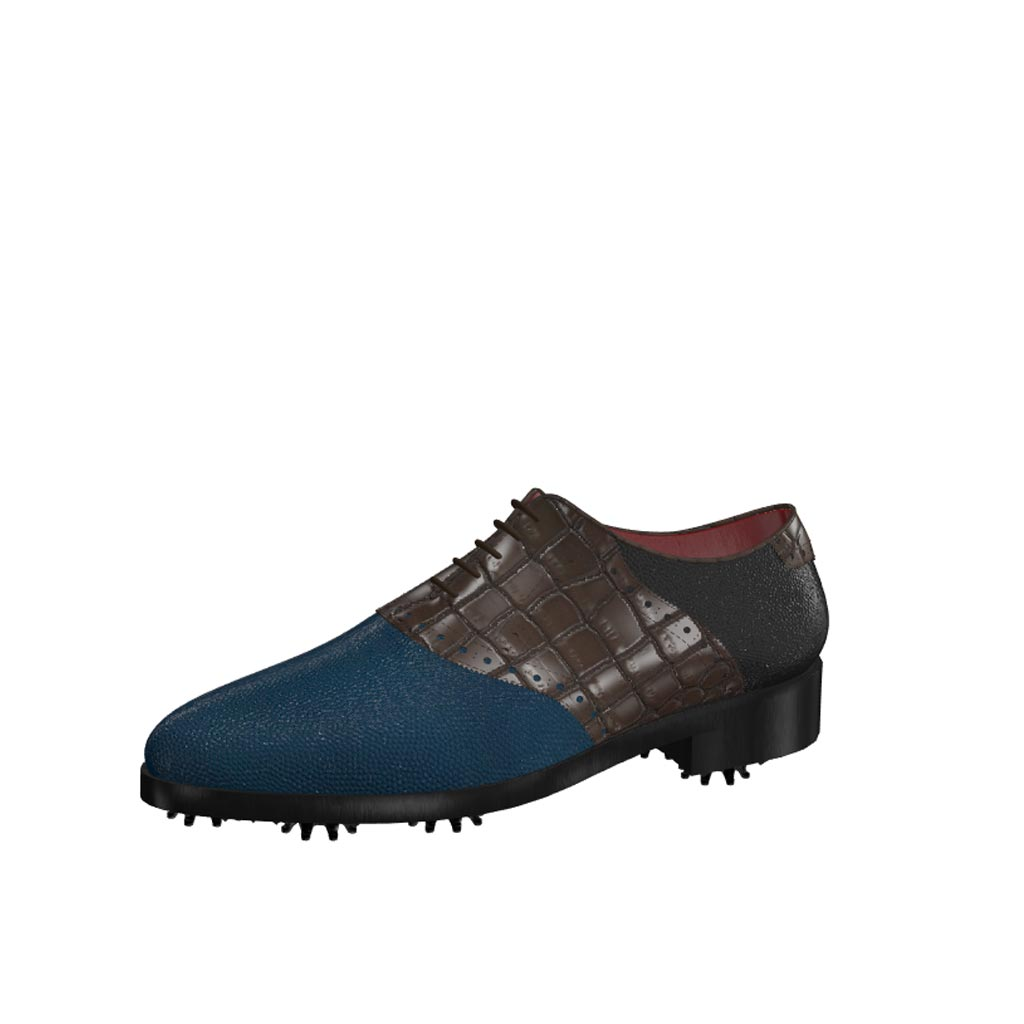 Front view of model Ross, blue and black pebble leather with brown painted croco Golf BespokeShoes