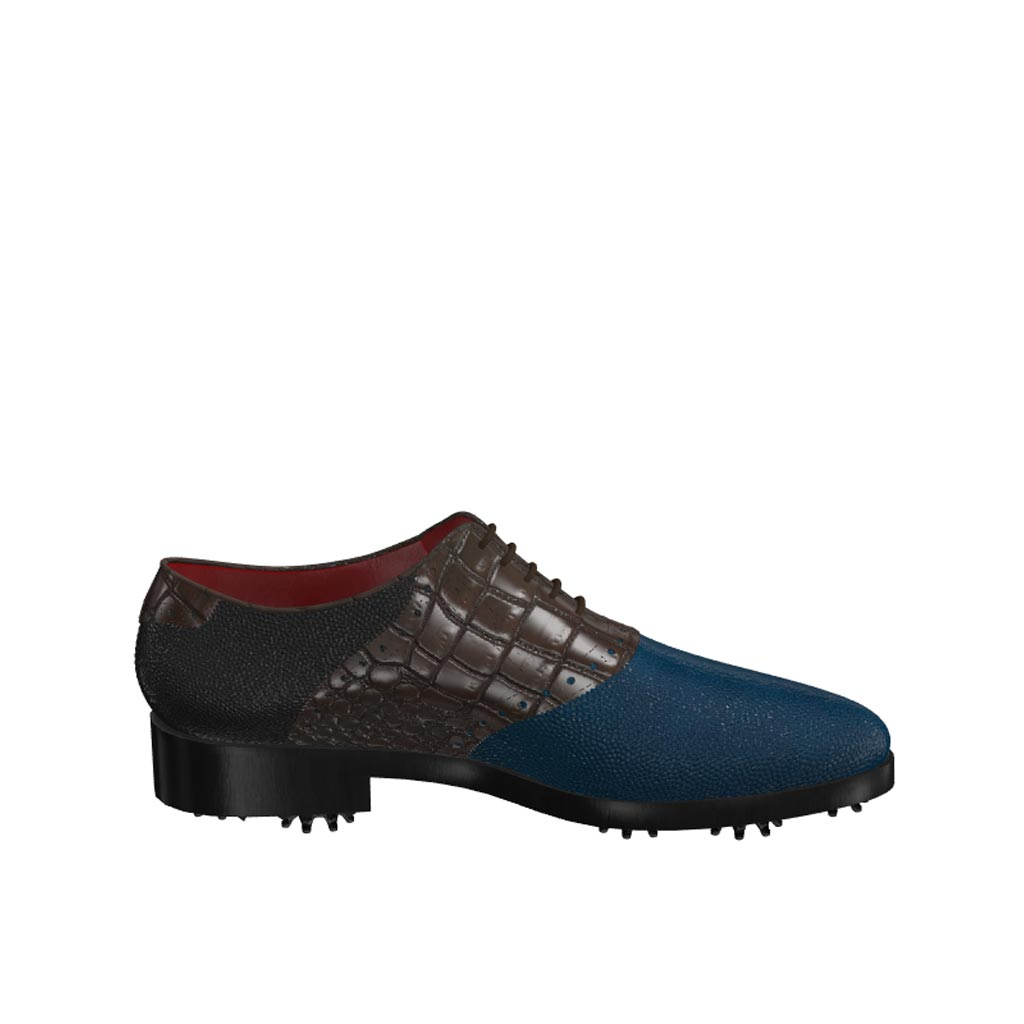 Side view of model Ross, blue and black pebble leather with brown painted croco Golf BespokeShoes