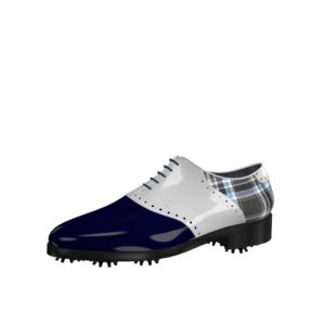 Front view of model David, blue and white patent leather and plaid fabric Golf BespokeShoes