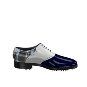 Side view of model David, blue and white patent leather and plaid fabric Golf BespokeShoes