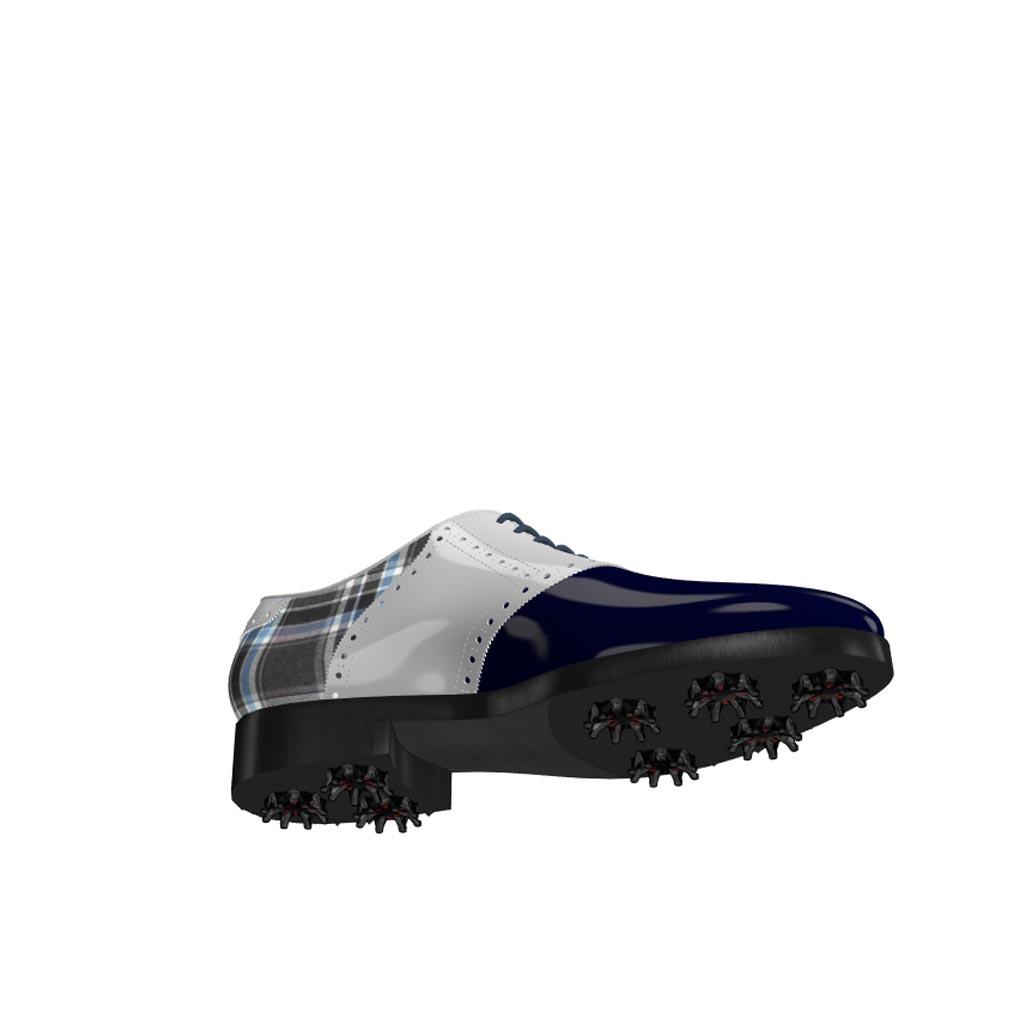 "Bottom view of model David, pelle verniciata bianca e blu con tessuto stile ""plaid"" Golf BespokeShoes"