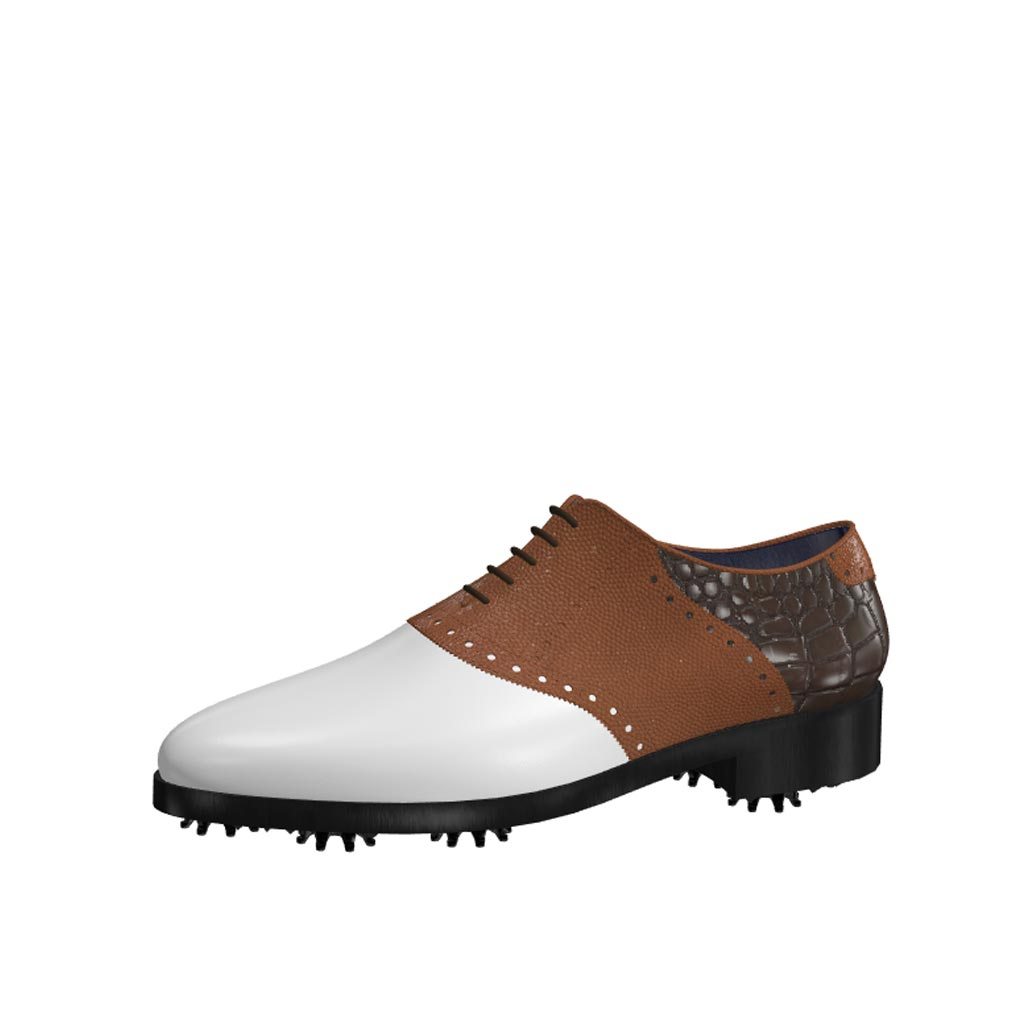 Front view of model Rod, white calf leather, brown pebble grain and painted croco leather Golf BespokeShoes