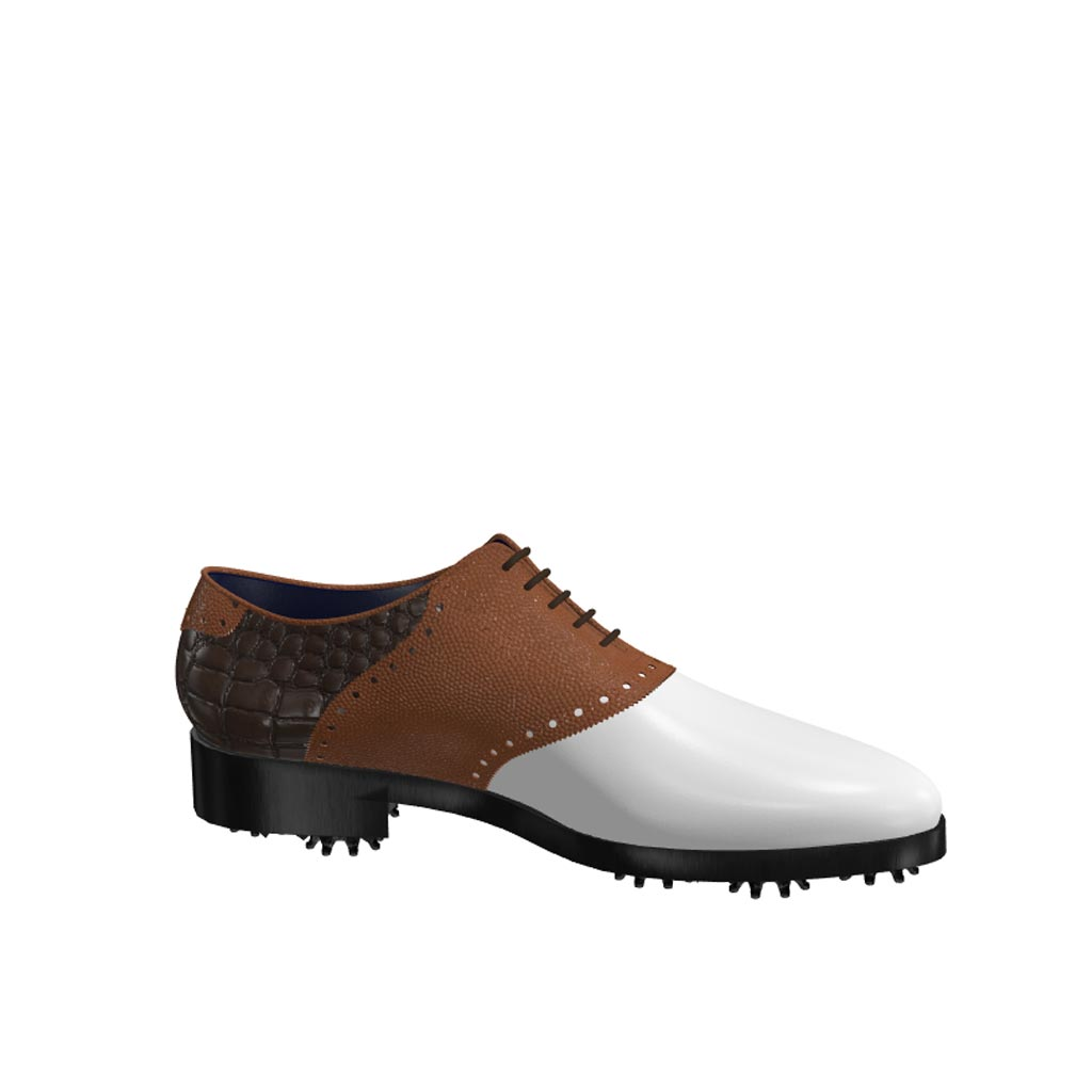 Side view of model Rod, white calf leather, brown pebble grain and painted croco leather Golf BespokeShoes