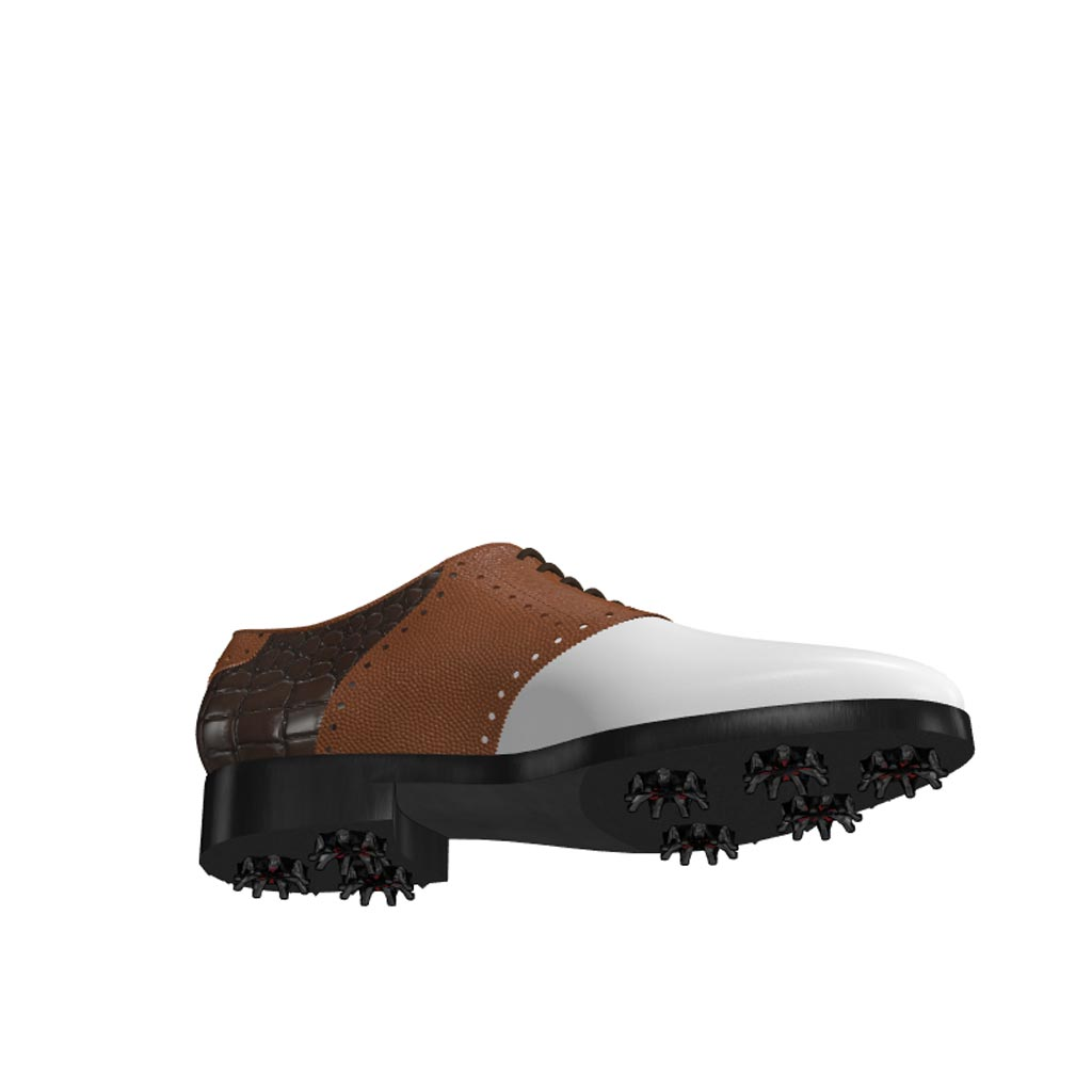Bottom view of model Rod, white calf leather, brown pebble grain and painted croco leather Golf BespokeShoes