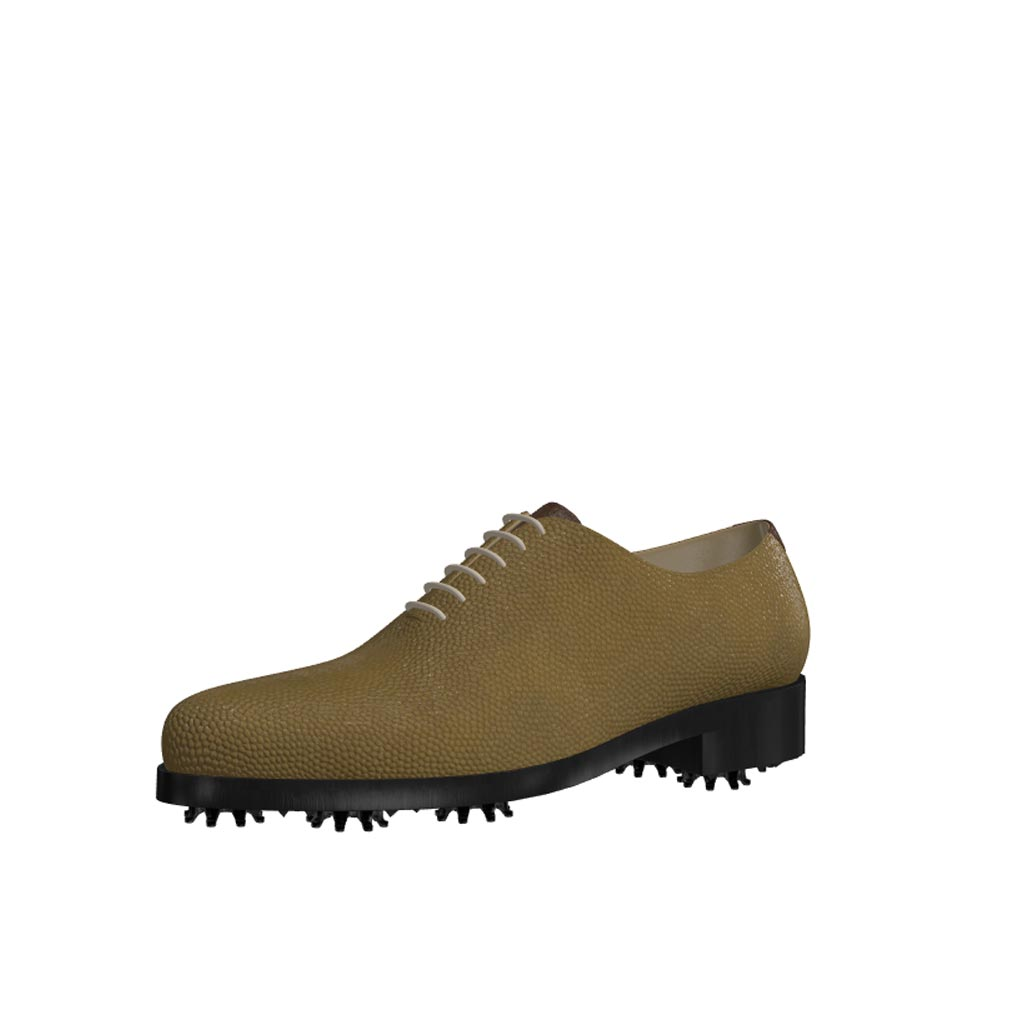 Front view of model Connor, whole cut olive painted pebble grain leather Golf BespokeShoes