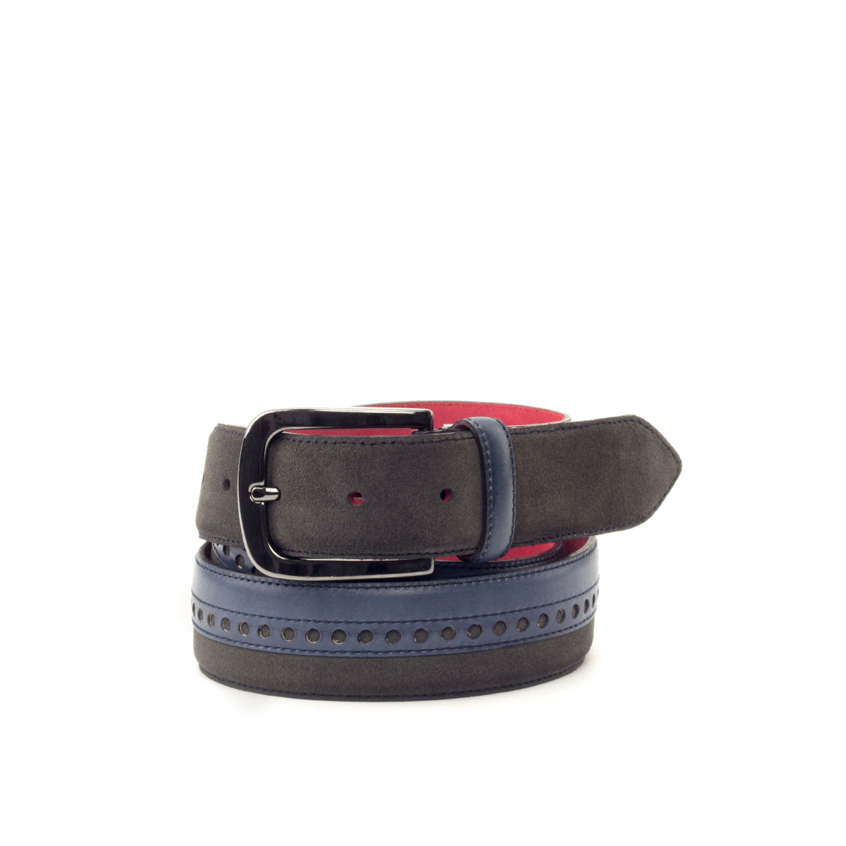 Bottom view of model La Rosita, navy blue painted calf, grey suede, red nubuck, graphite buckle Golf BespokeShoes