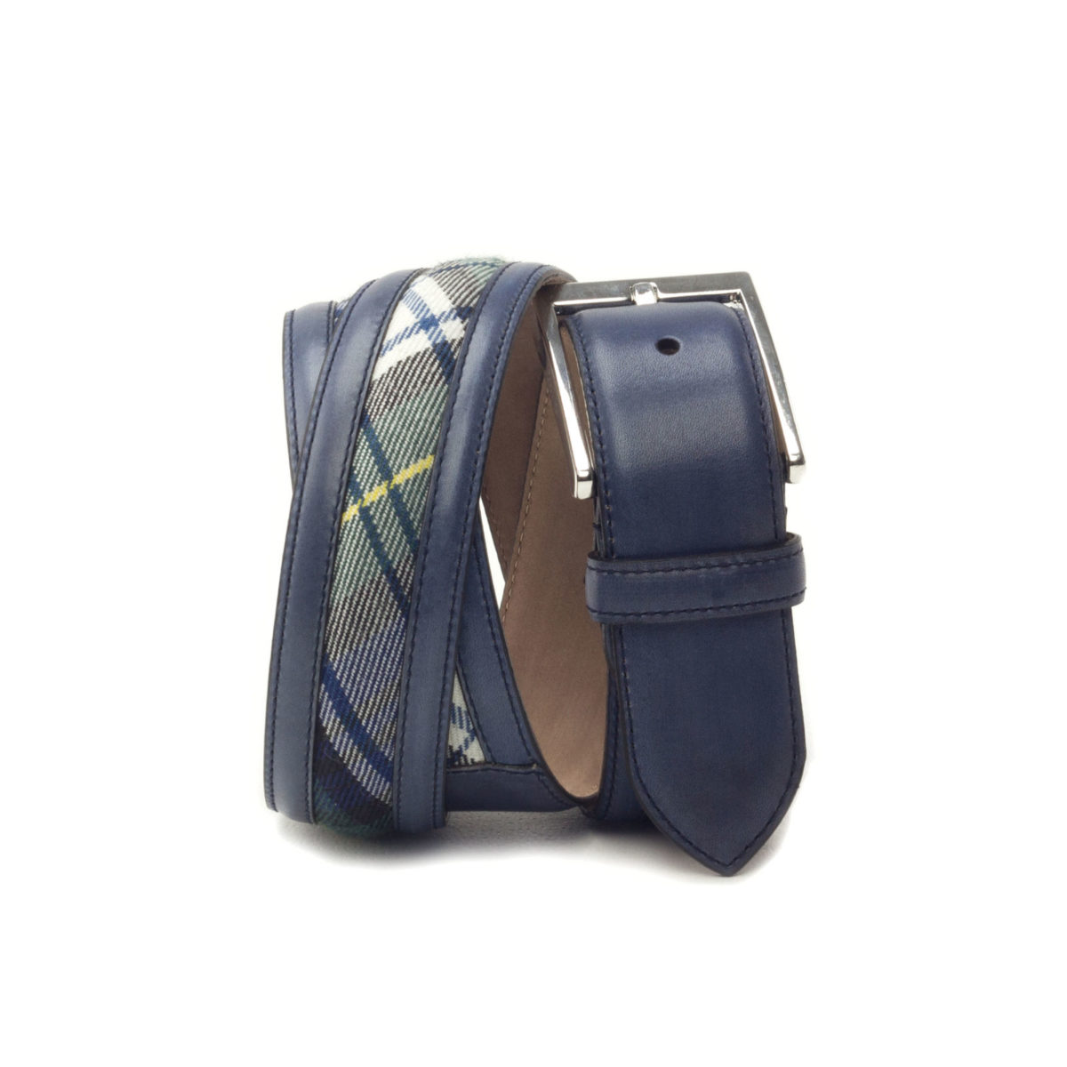 Side view of model Lombard, navy blue painted calf, tartan fabric, stone nubuck, niqel buckle Golf BespokeShoes