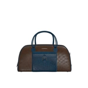 Front view of model Pinehurst, dark brown and navy blue painted full grain leather with niquel hardware Golf BespokeShoes