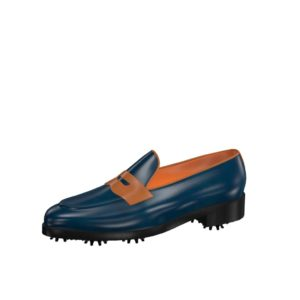 Front view of model Adrian, blue navy and cognac painted calf leather Golf BespokeShoes