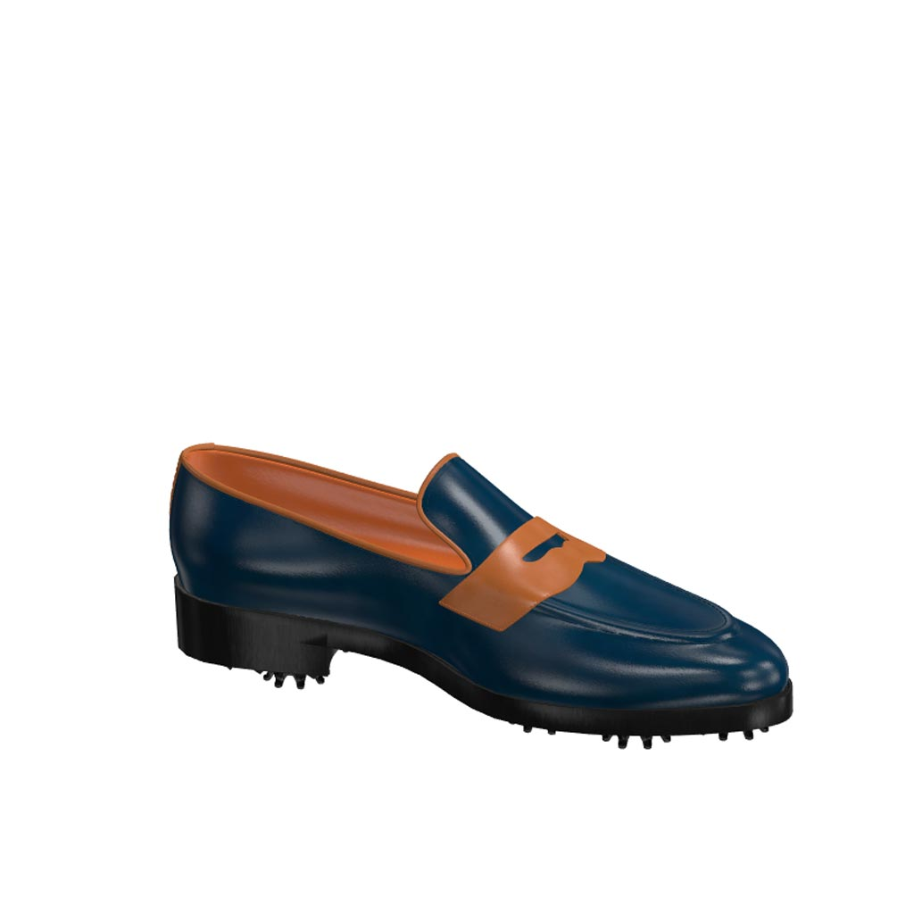 Side view of model Adrian, blue navy and cognac painted calf leather Golf BespokeShoes