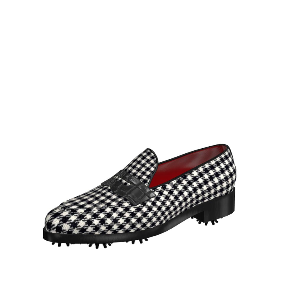 Front view of model Leo, pied-de-poule fabric and black croco painted leather Golf BespokeShoes