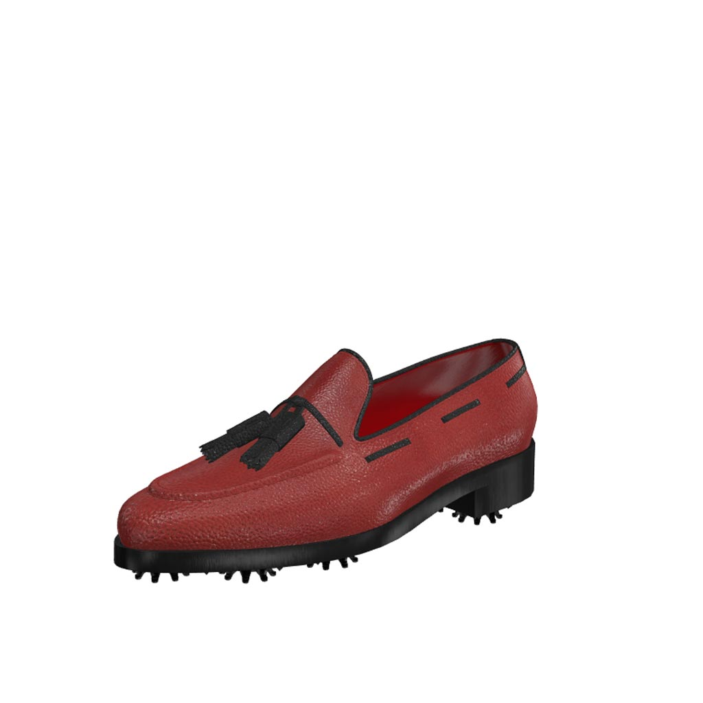 Front view of model Nolan, red painted full grain leather with black tassels Golf BespokeShoes