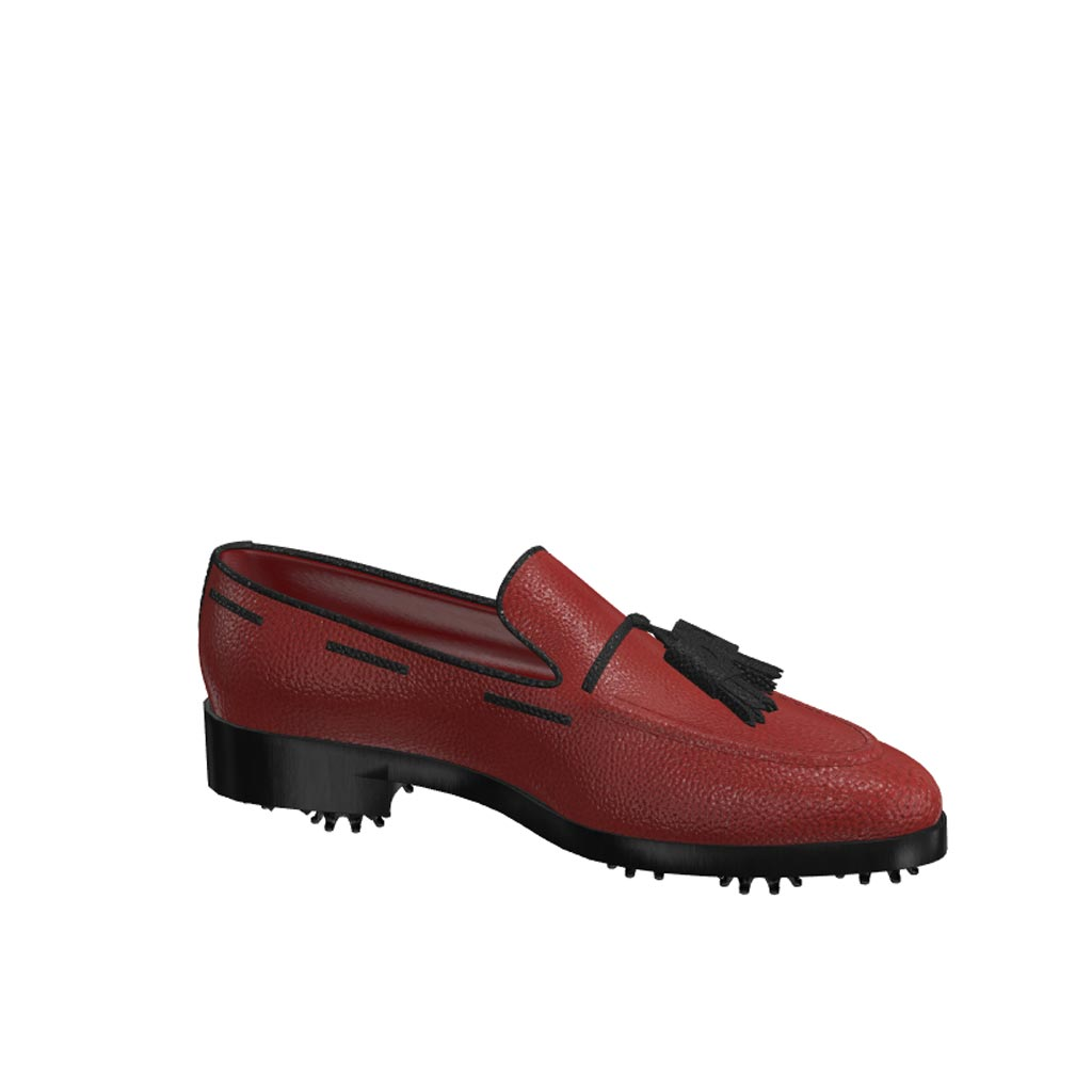 Side view of model Nolan, red painted full grain leather with black tassels Golf BespokeShoes