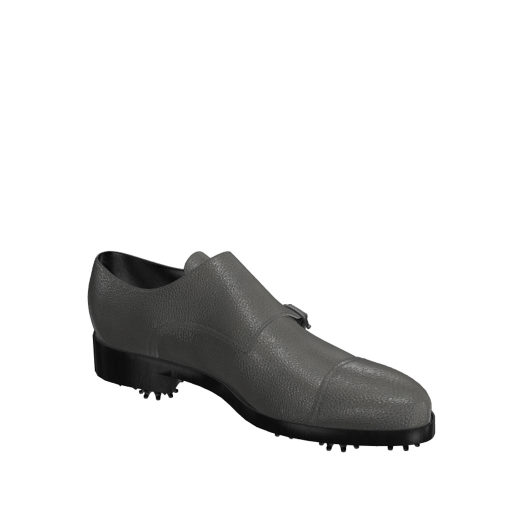Side view of model Sawyer, grey painted full grain leather Golf BespokeShoes