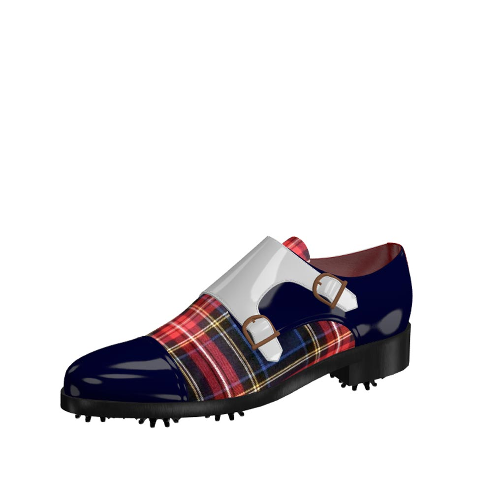 Front view of model Gavin, cobalt blue ant white patent leather with tartan fabric Golf BespokeShoes
