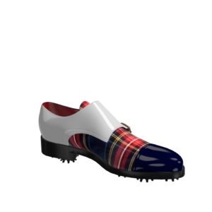 Side view of model Gavin, cobalt blue ant white patent leather with tartan fabric Golf BespokeShoes