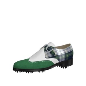 Front view of model Jameson, forest green kid suede, white box calf and tartan fabric Golf BespokeShoes