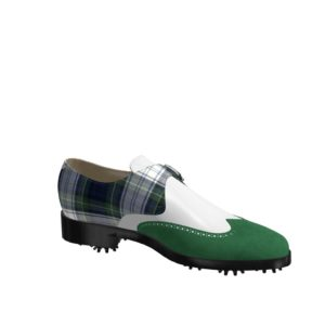 Side view of model Jameson, forest green kid suede, white box calf and tartan fabric Golf BespokeShoes