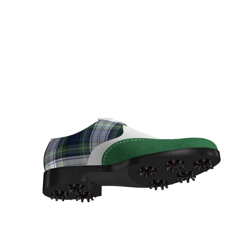 Bottom view of model Jameson, forest green kid suede, white box calf and tartan fabric Golf BespokeShoes