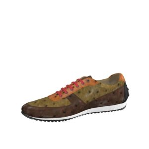 Front view of model Parker, med brown and dark brown exoctic alligator skin with heel in red painted calf Golf BespokeShoes