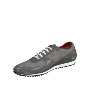 Front view of model Wavemeet, grey linen, grey painted calf Golf BespokeShoes