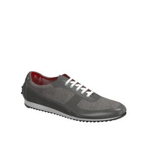 Side view of model Wavemeet, grey linen, grey painted calf Golf BespokeShoes