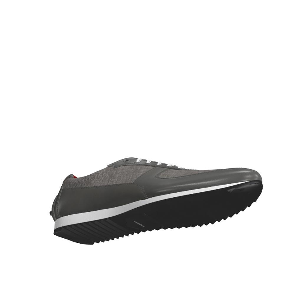 Bottom view of model Wavemeet, grey linen, grey painted calf Golf BespokeShoes