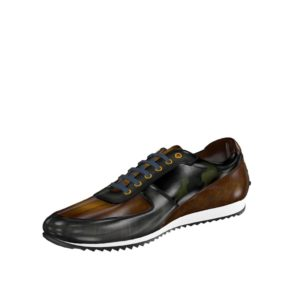 Front view of model Yellowseed, grey crust patina, cognac crust patina, khaki camo patina Golf BespokeShoes