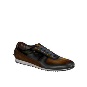 Side view of model Yellowseed, grey crust patina, cognac crust patina, khaki camo patina Golf BespokeShoes