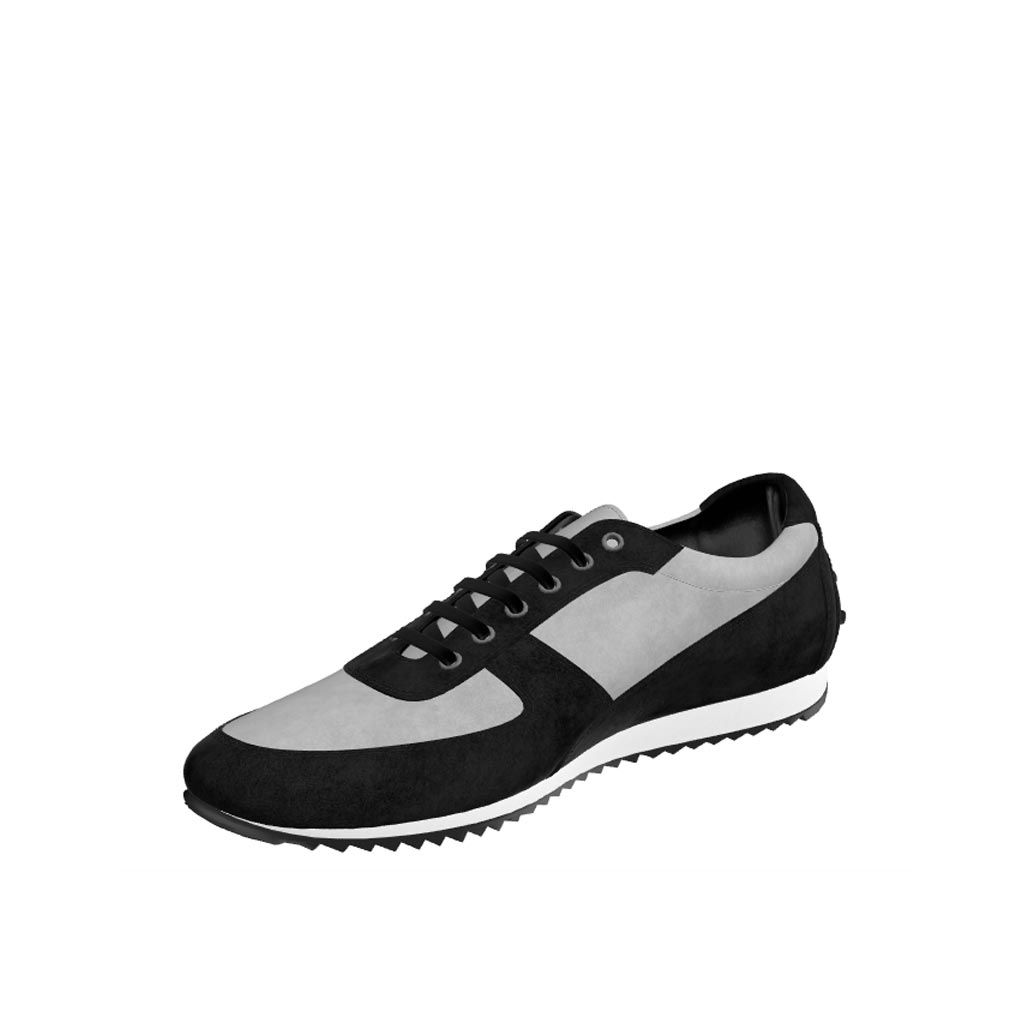 Front view of model Narfolk, black lux suede, light grey kid suede Golf BespokeShoes