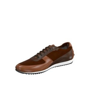 Front view of model Chester, med brown painted calf, dark brown painted calf, brown kid suede Golf BespokeShoes