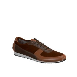 Side view of model Chester, med brown painted calf, dark brown painted calf, brown kid suede Golf BespokeShoes