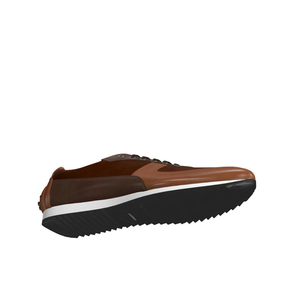 Bottom view of model Chester, med brown painted calf, dark brown painted calf, brown kid suede Golf BespokeShoes