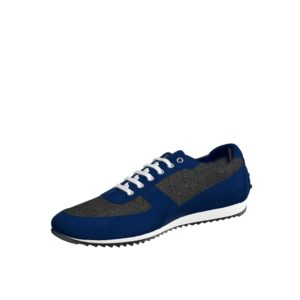 Front view of model Stanlow, flannel dark grey flannel, navy kid suede Golf BespokeShoes