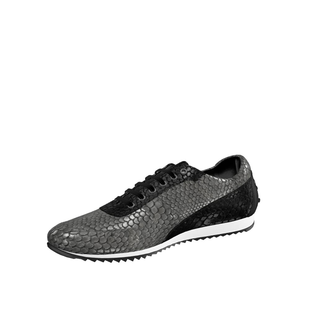 Front view of model Marclesfield, black painted calf, grey exotic python, black exotic python Golf BespokeShoes