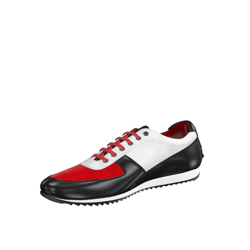 Front view of model Strongfair, red kid suede, white kid suede, black painted calf Golf BespokeShoes