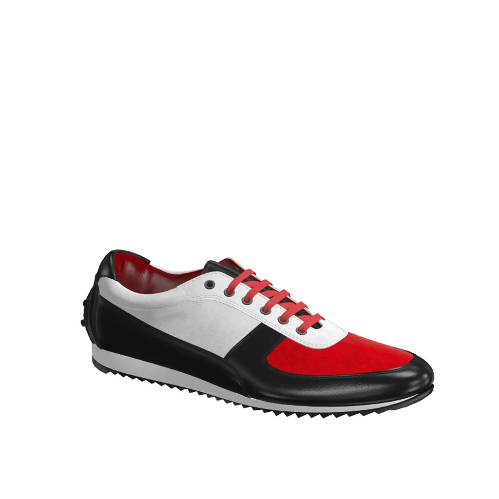 Side view of model Strongfair, red kid suede, white kid suede, black painted calf Golf BespokeShoes