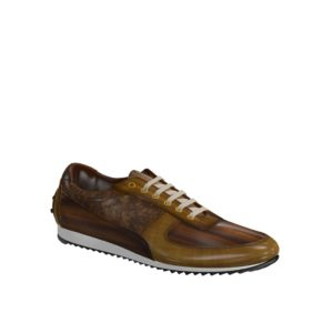 Side view of model Bardford, cognac crust patina, brown crust patina Golf BespokeShoes