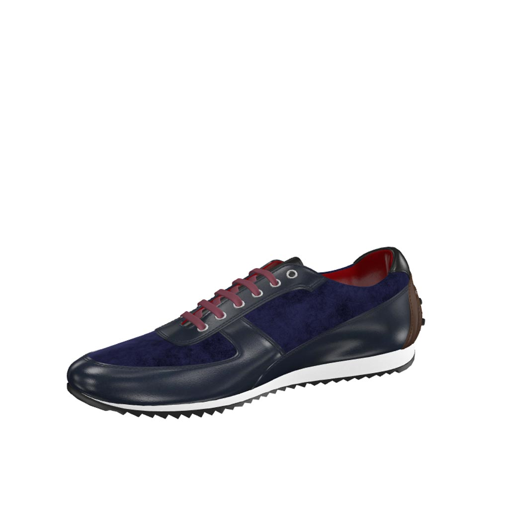 Front view of model Clacton, navy box calf, navy lux suede, dark brown painted calf, black painted calf Golf BespokeShoes
