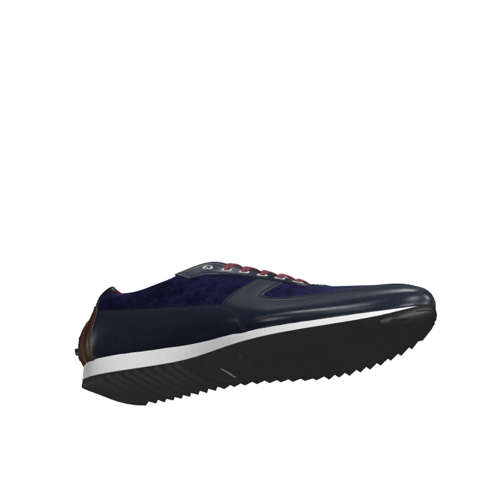 Bottom view of model Clacton, navy box calf, navy lux suede, dark brown painted calf, black painted calf Golf BespokeShoes
