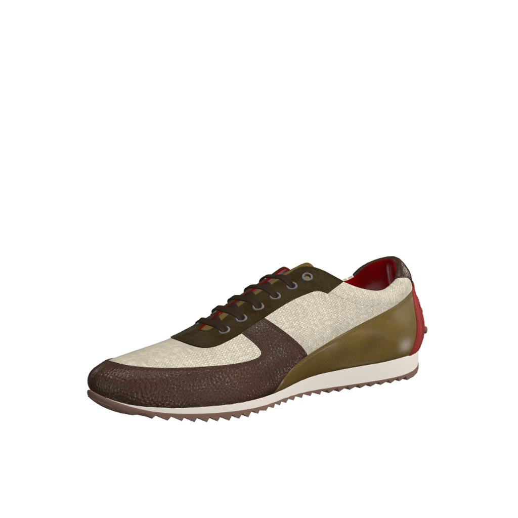 Front view of model Wolfpine, ice linen, khaki lux suede, olive painted calf, dark brown painted full grain Golf BespokeShoes