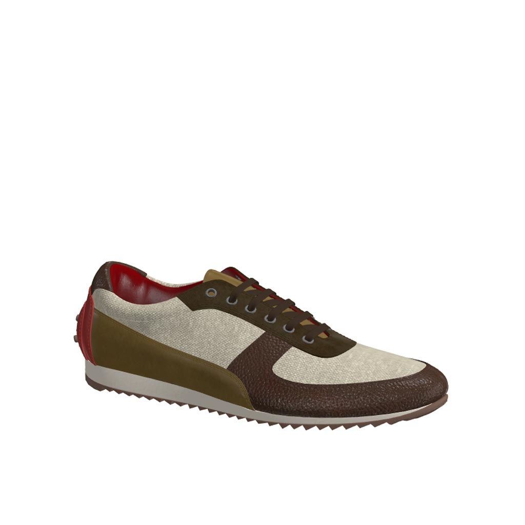 Side view of model Wolfpine, ice linen, khaki lux suede, olive painted calf, dark brown painted full grain Golf BespokeShoes