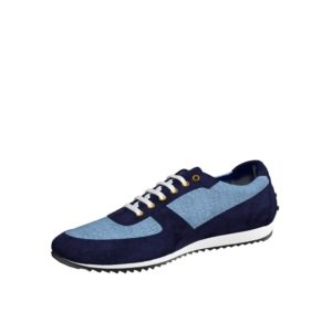 Front view of model Yarlford, blue linen, navy lux suede Golf BespokeShoes