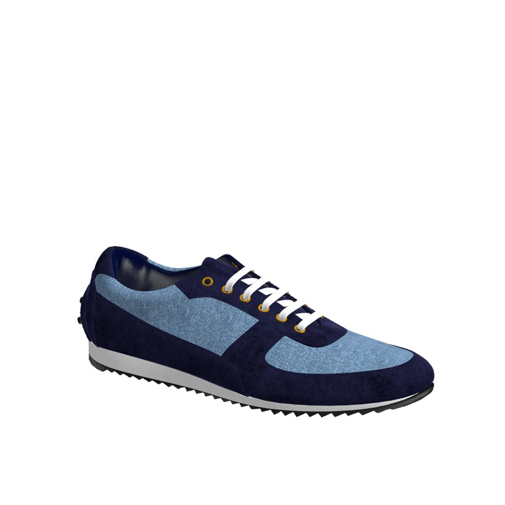 Side view of model Yarlford, blue linen, navy lux suede Golf BespokeShoes