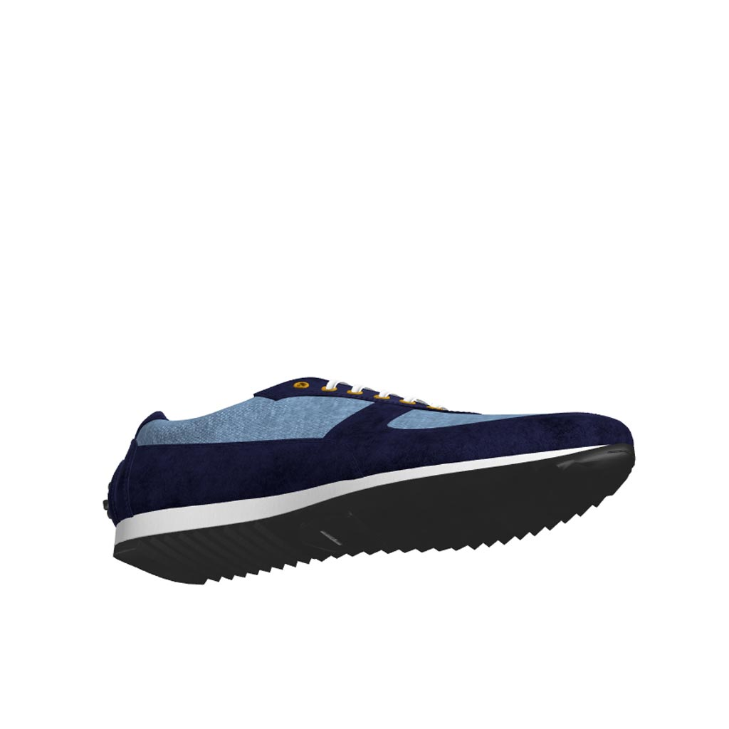 Bottom view of model Yarlford, blue linen, navy lux suede Golf BespokeShoes