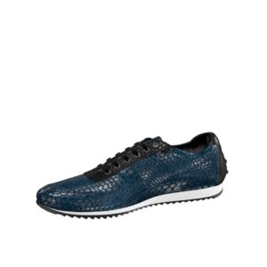 Front view of model Doncaster, black painted calf, navy exotic python, black exotic python Golf BespokeShoes