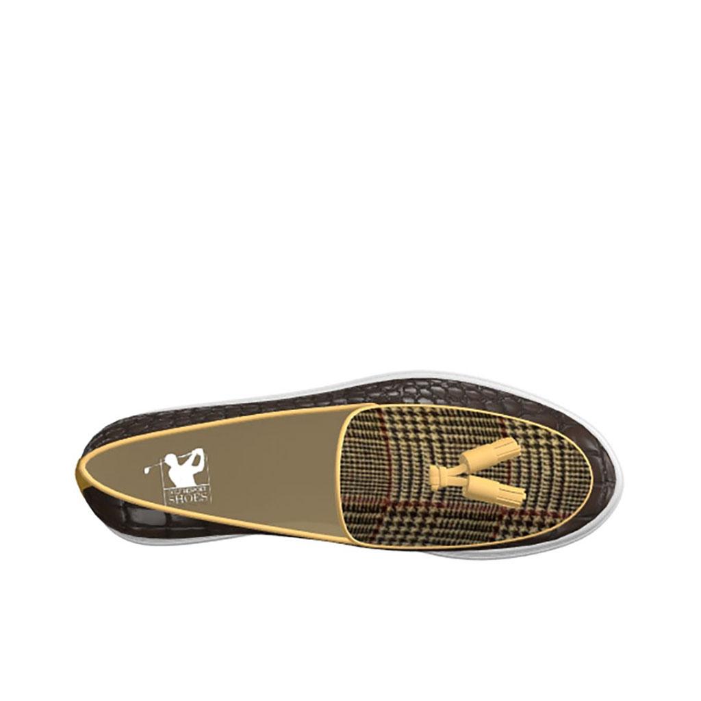 Side view of model Evan, Painted Croco Dark Brown, Wool Tweed Brown Golf BespokeShoes