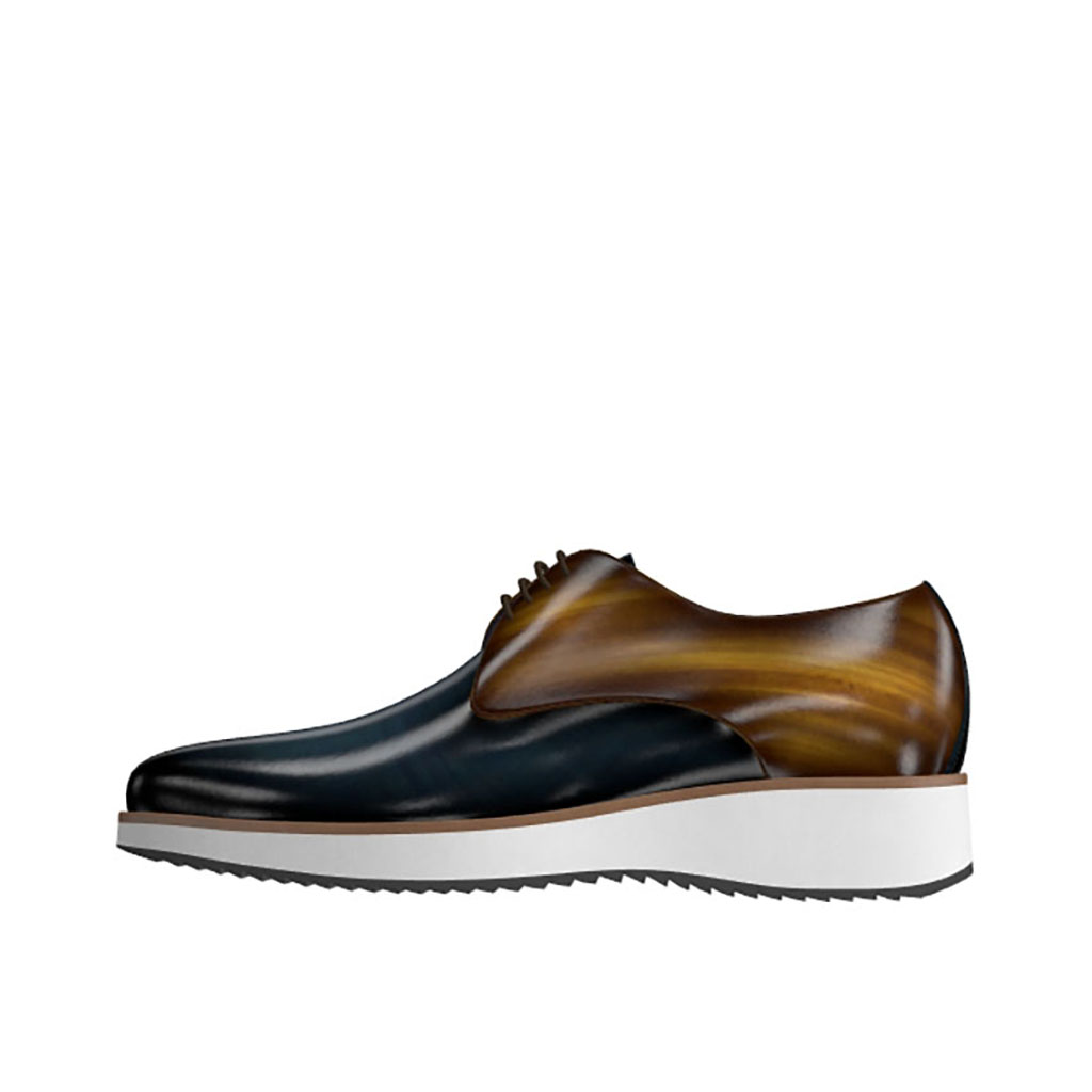 Front view of model Jason, Denim and cognac patina leather Golf BespokeShoes