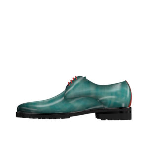 Front view of model Parker, Turquoise patina leather Golf BespokeShoes