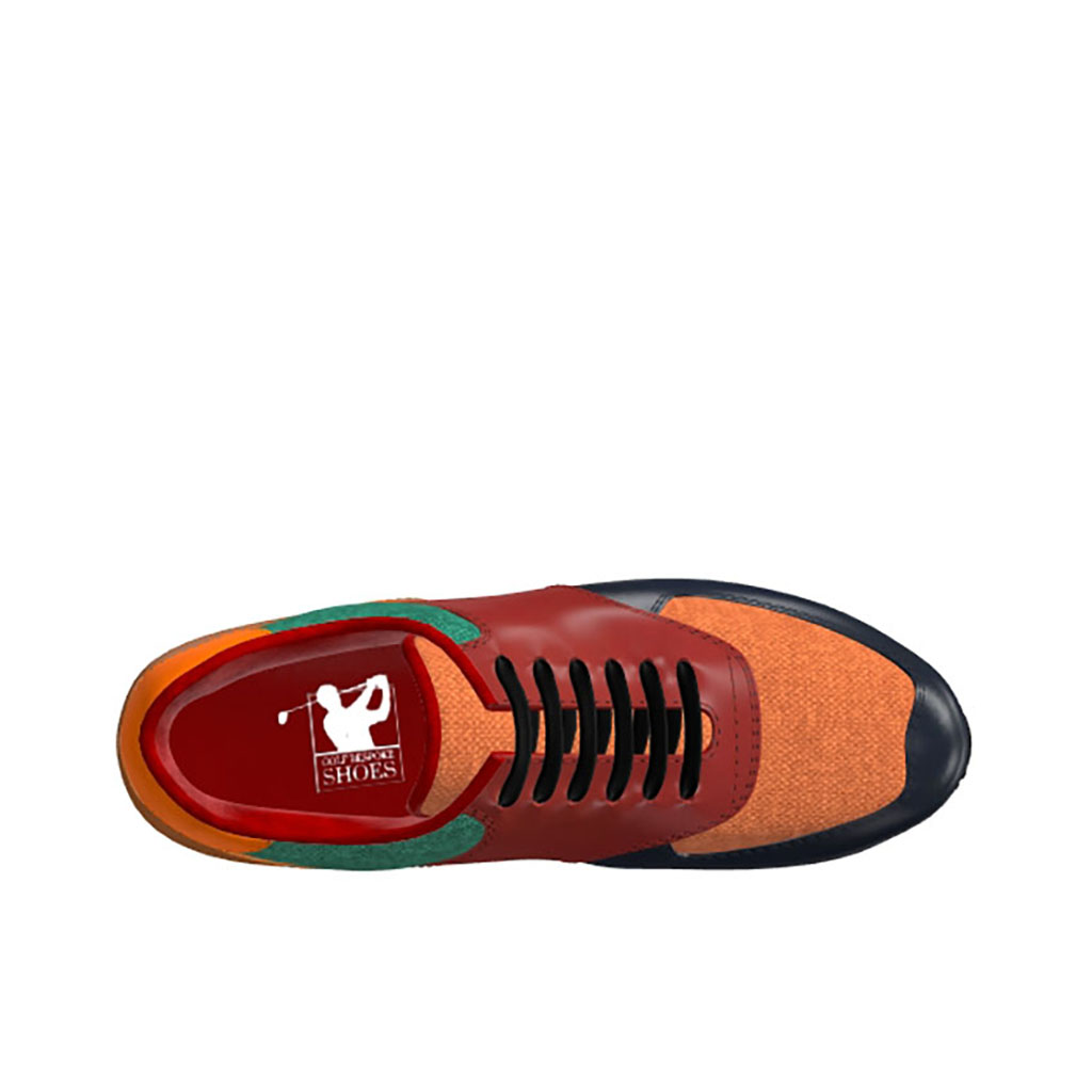 Side view of model Kevin, Navy, red, cognac polished calf leather Golf BespokeShoes